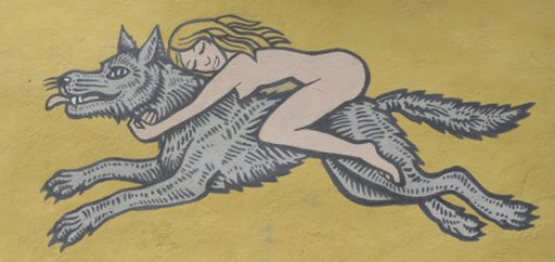naked lady riding a wolf