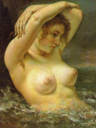 the nude woman in the waves