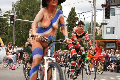 Striped naked bikers at the Fremont Parade