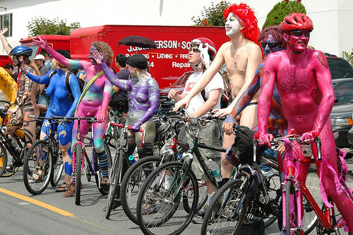 Naked bikers at the Fremont Parade